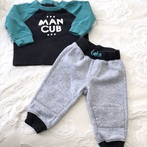 Gymboree Baby Boy Outfit Man Cub Shirt and Sweats